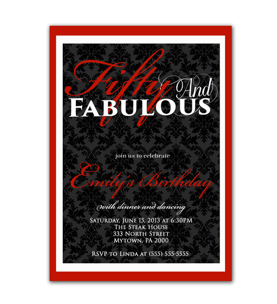 زفاف - Fifty and Fabulous Damask Birthday Invitation Red 40th 50th 60th ModernTrendy Elegant 5x7 JPG File Invite(80)