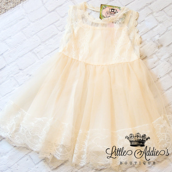 Hochzeit - Grace and Lace Dress, ivory flower girls dress,Lace flower girls dress,rustic flower girl dress,baby lace dress,ivory lace