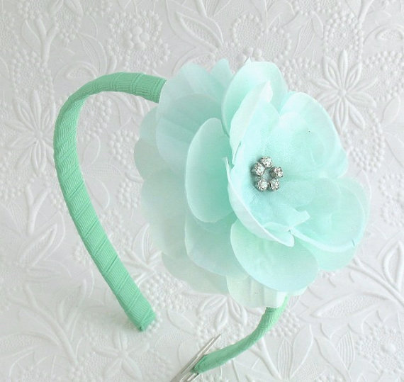 Mariage - Mint Flower Headband for Toddlers, Young Girls, Bridesmaids, Flower Girls, Rhinestone Mint Hair Flower on Hard, Ribbon Wrapped Headband