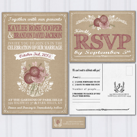 Wedding - Burlap and Mason Jar Wedding Invitations, Burgundy and Blush Pink Roses, Invitation Set, Cheap Wedding Invitations