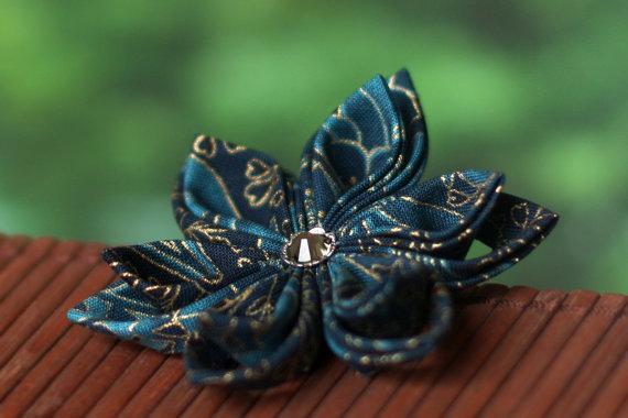 Mariage - Teal hair clip, hair flower accessory, wedding hairpiece, fabric, peacock blue, kanzashi, fascinator, floral, Japanese, Asian