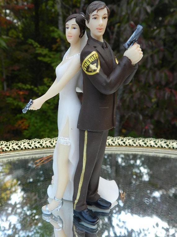 Deputy Sheriff Bride Groom Guns Wedding Cake Topper Law Enforcement Classic Garter 2301071 Weddbook