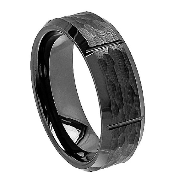 "Свадьба - Ceramic Ring,  ""FREE ENGRAVING"", Mens Wedding Band, MMCR343, Black Ceramic engagement ring"