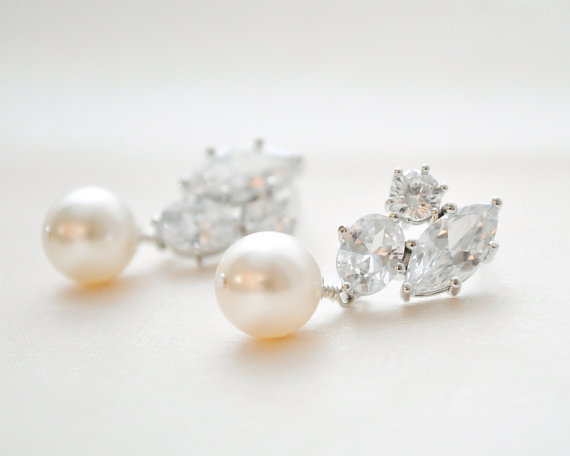 Свадьба - Vintage Style Bridal Earrings, Wedding Earrings, CZ Earrings, Wedding Jewellery