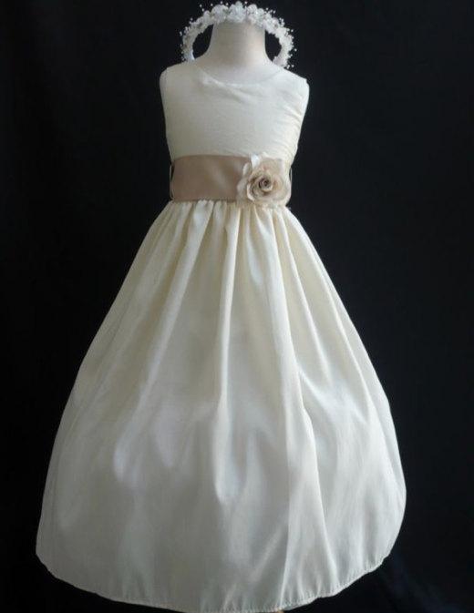 e87bd5f7e8b22 Flower Girl Dresses - IVORY With Champagne (FD0JC) - Wedding Easter ...