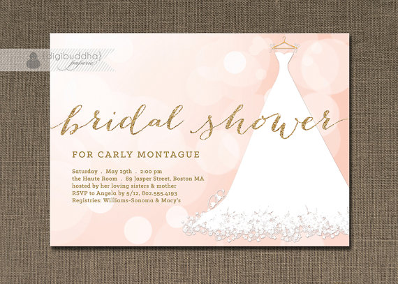 blush pink gold bridal shower invitation glitter wedding gown bokeh sparkling lights modern free priority shipping or diy printable carly