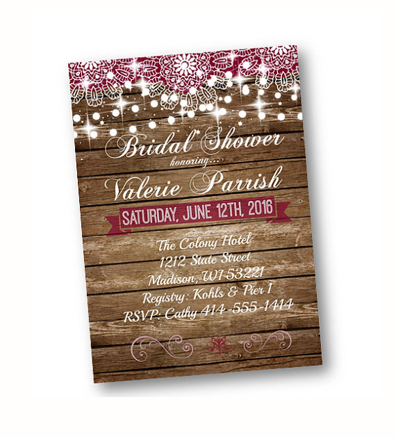 Rustic Bridal Shower Invitation Wood And Lace With String Of Lights Printed Or Printable Option ...