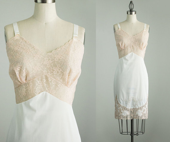 Wedding - 60s Vintage Champagne And Ivory Embroidered Lace Slip Dress / Medium