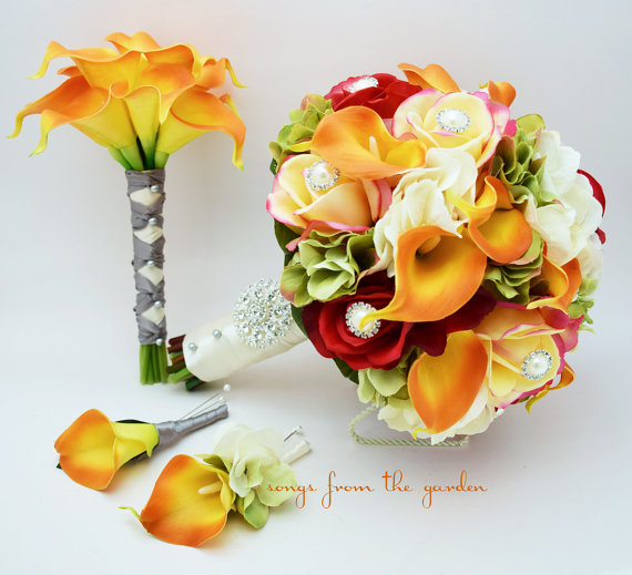 Autumn Wedding Bridal Bouquet Bridesmaid Grooms Boutonniere Confetti Red Real Touch Roses Calla Lily Fall Color