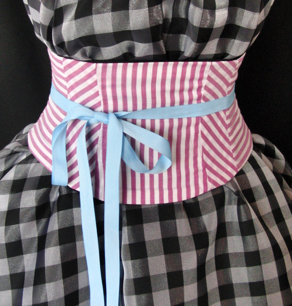 زفاف - Pink Candy Striped Corset Belt Lace Up Obi Waist Cincher Any Size