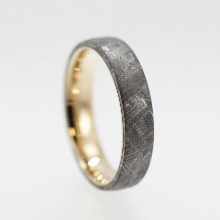 Свадьба - 14K Yellow Gold Wedding Band With Meteorite Inlay - Custom Made