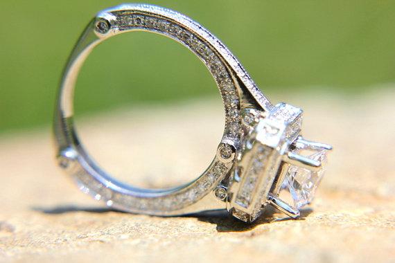 Hochzeit - HALO Diamond Engagement Ring - European Style Shank - 1.88ct TW - 14K White Gold - Antique Style - Weddings - Brides - Bph019