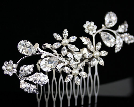 Mariage - Wedding hair comb Swarovski Crystal Hair Vine White Ivory Pearl Rhinestone Flower side comb Wedding Hair Accessories AUBURY