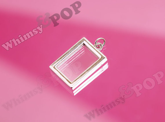 Mariage - 1 - Silver Tone Double-Sided Rectangle Photo Charm, Photo Frame Pendant, Bouquet Charm, Photo Charm, Fits 16.5mm x 10.5mm Photo
