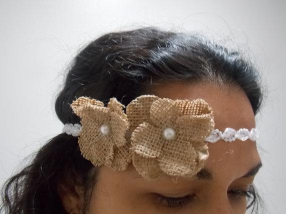 زفاف - Halo Burlap flowers Bachelorette party Veil headband for beach wedding  for new  Bride to be , Bridal Shower and  Bridesmaid hair Gift