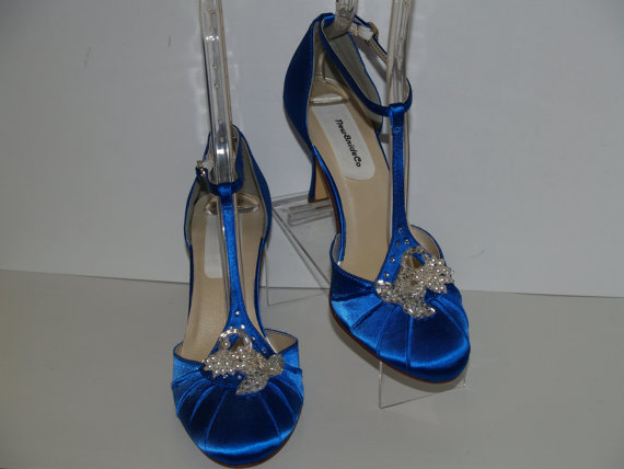 Mariage - Wedding Blue Shoes Silver beads crystals and pearls
