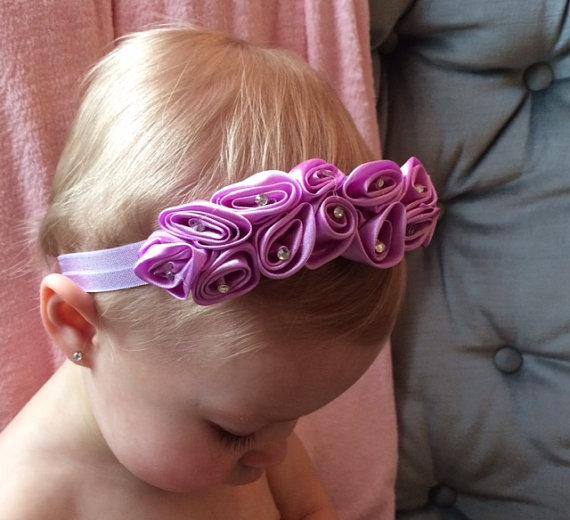 Mariage - Purple Wave Silk Flower Headband, Lavender flower headband, wedding headband, flower girl headband, christening baptism headband