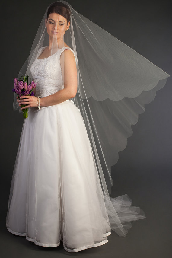 "Mariage - 2-tier Cathedral Drop Veil with scalloped edging, bridal veil, hair matching comb Available 90"" thru 120"" lengths"