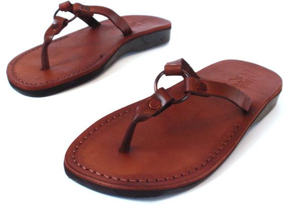 Mariage - SALE ! New Leather Sandals SATURN Women's Shoes Thongs Flip Flops Flats Slides Slippers Biblical Bridal Wedding Colored Footwear Designer