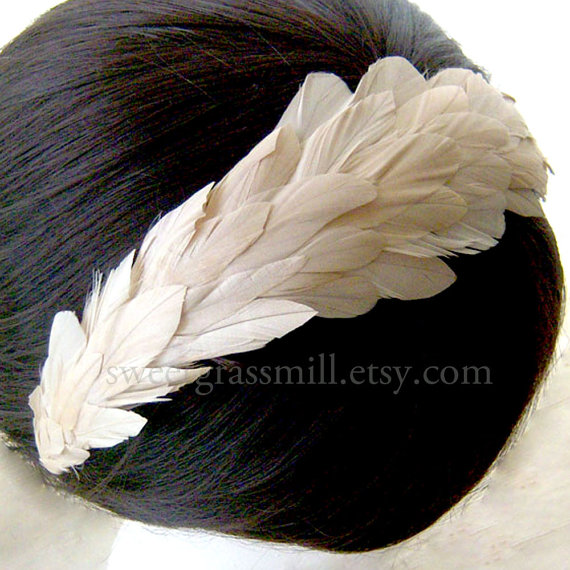 Mariage - Ivory Feather Headband - IVOIRE LUXE - Silky Coque Feather Crown Headpiece