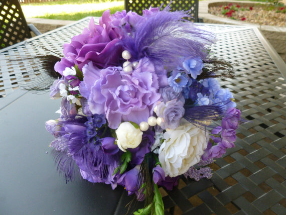 Wedding - Purple bridal bouquet peacock and ostrich feather accent, SALE, matching grooms boutonniere FREE,