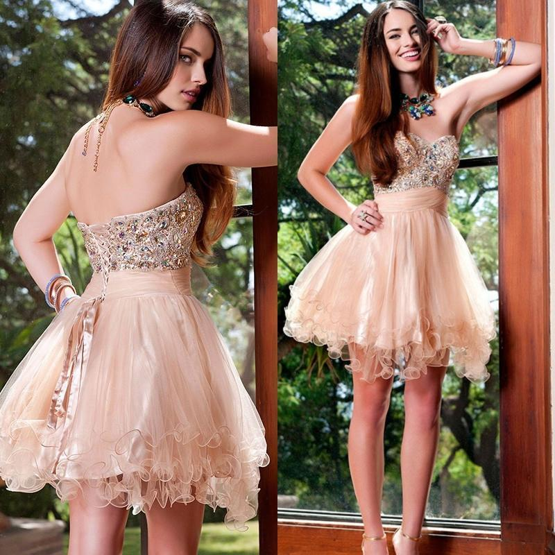 Wedding - 2015 Blush Pink Short Prom Dresses Sweetheart Tulle With Crystal Beaded Knee Length Cocktail Short Party Ball Gown Special Occasion Online with $100.79/Piece on Hjklp88's Store
