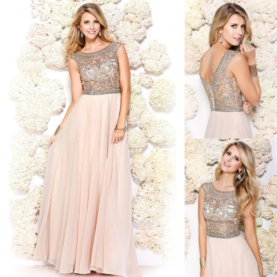 Wedding - Bright Evening Dresses Scoop Neck Sheer Crystal Bodice A-Line Floor-length Beaded 2015 Long Prom Dresses Formal Party Ball Gowns Custom Online with $124.61/Piece on Hjklp88's Store