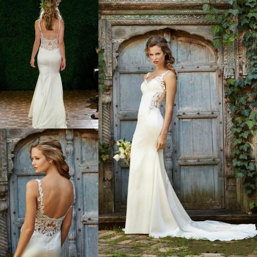 Stunning 2017 Wedding Dresses Y Mermaid Spaghetti Straps Lace Satin Open Back Sleeveless Summer Beach Bridal Gowns Custom Online With