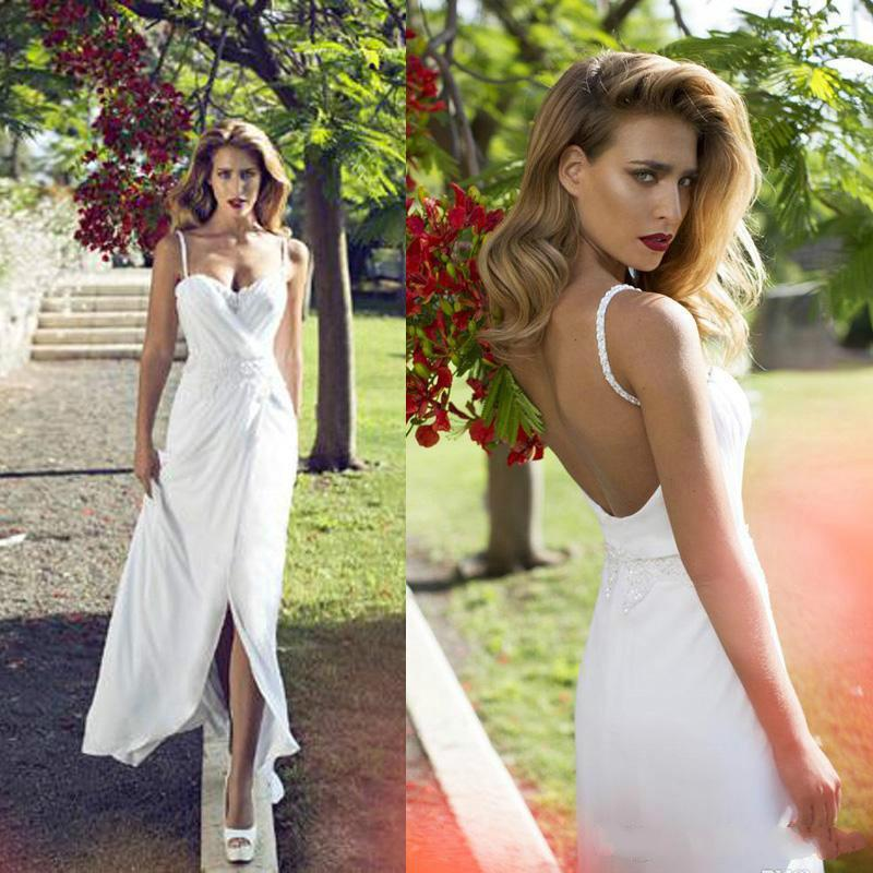 fa88f7f0b2a1 Summer Nurit Hen Chiffon Spring 2015 Beach Wedding Dresses Garden Beads Spaghetti  Straps Front Split Backless Bridal Gowns Dress Ball Sexy Online with ...