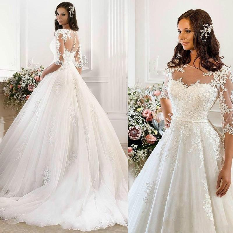 Vintage wedding dresses 2015 cheap illusion applique for Vintage wedding dresses for cheap