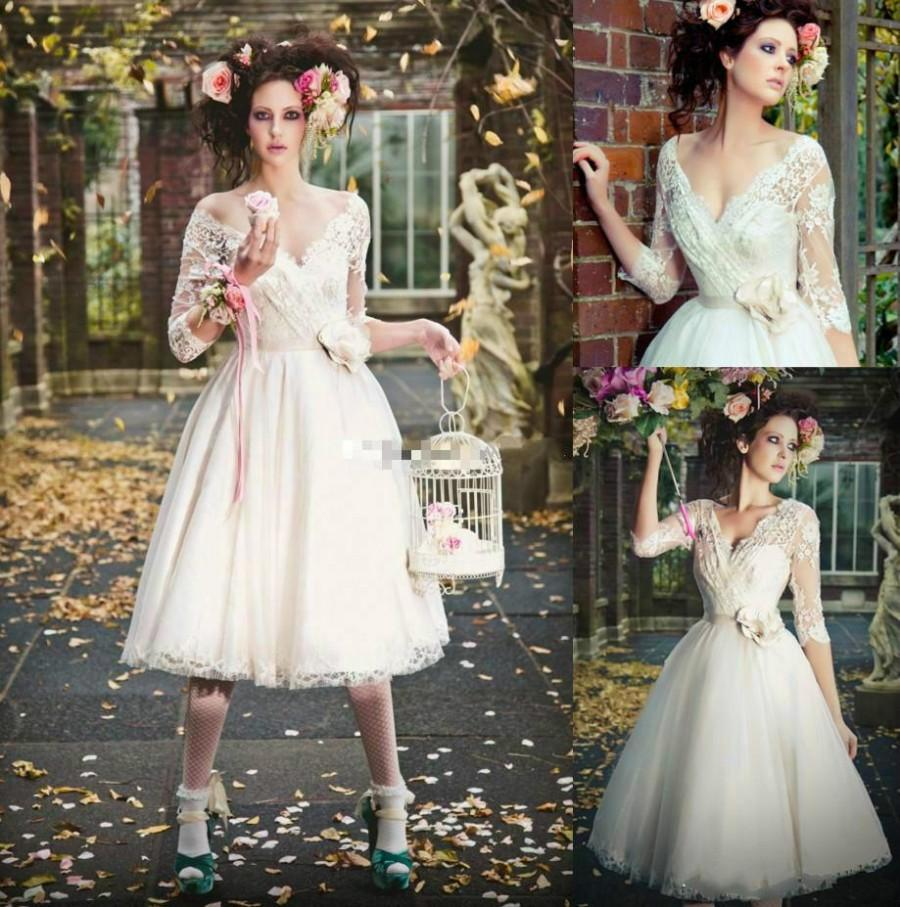 Wedding - Elegant 3/4 Long Sleeve Short Wedding Dresses Sheer Tea Length Vestido De Novia Tulle Garden Lace Applique Bridal Ball Gowns Cheap Online with $121.05/Piece on Hjklp88's Store