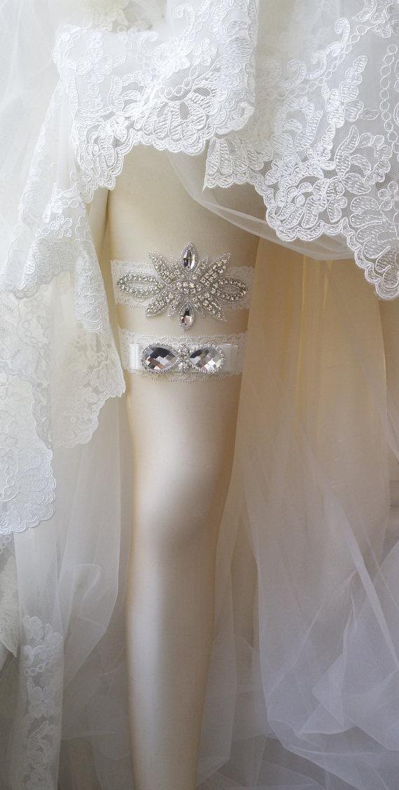 Wedding - Wedding Garter Set , Ivory Lace Garter Set, Bridal Leg Garter,Rustic Wedding Garter, Bridal Accessory, Rhinestone Crystal Bridal Garter