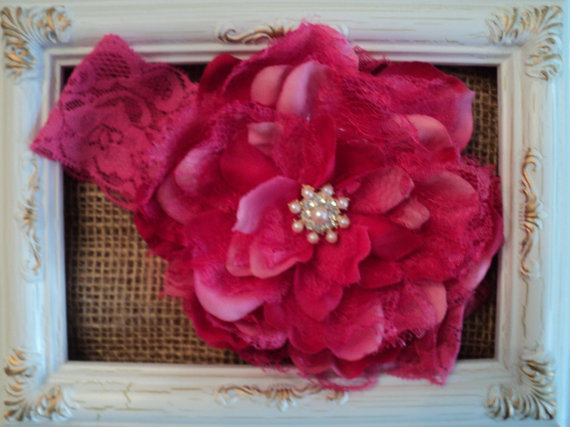 """Mariage - Baby Infant Girl Hot Pink Lace Headband 5"""" fabric lace flower pearls & rhinestones for Flower Girl, Birthday, Wedding, New Baby, Photo Prop"""
