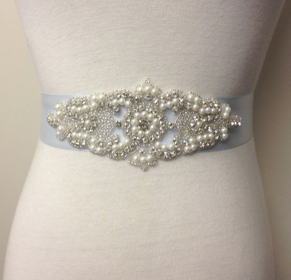 Bridal sash light blue sash pearl sash belt bride sash for Blue sash for wedding dress