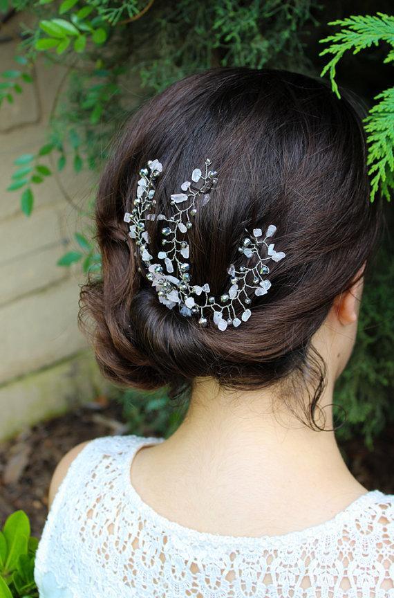 Hochzeit - Crystal Hair Piece, Crystal Hair Vine, Wedding Hair Clip, Hair Jewelry, Hair Spray Comb, Headpiece, Wedding Hair Comb, Rhinestone Hair Pin