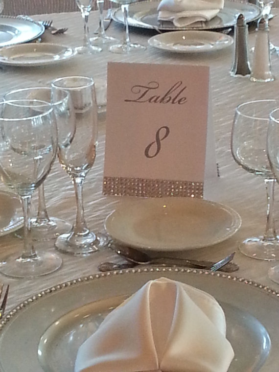 Свадьба - Classic Rhinestone Accent double sided table number, self standing,  pearlized, table numbers Silver and White