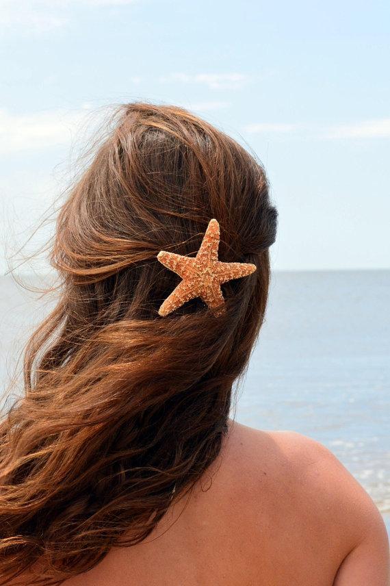 Mariage - Starfish Hair clip, Barrette or Pinch Clip, nautical hairclip, beach wedding, mermaid accessories