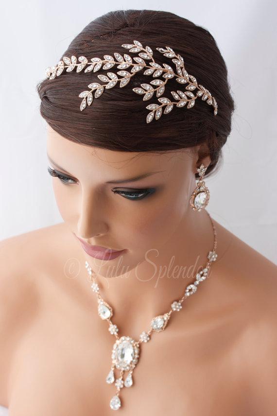 Mariage - Rose Gold Bridal Headband Crystal Leaf Wedding Headband Side Tiara Head Piece Wedding Hair accessories Swarovski Rhinestone Headpiece NEVE