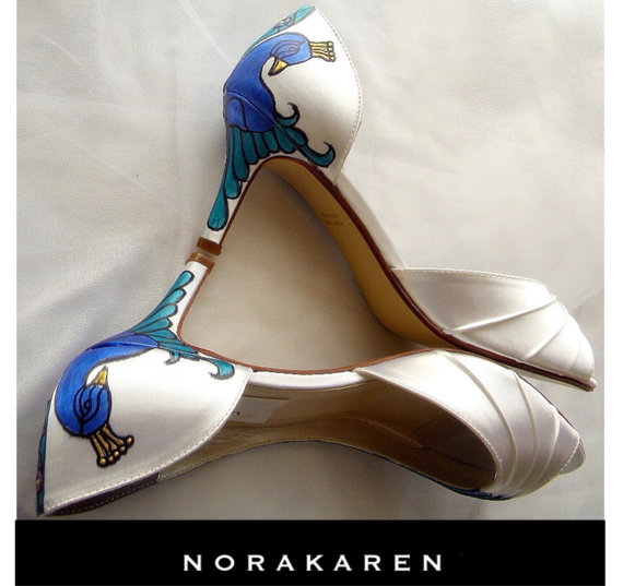 زفاف - Wedding Shoes - something blue , peacock shoes, Plum feathers, painted shoes, ivory shoes, peep toes