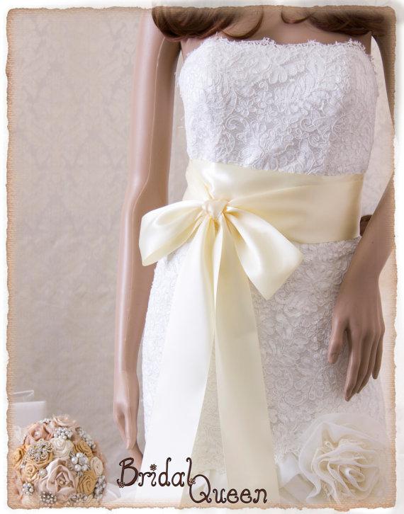 Свадьба - Bridal Sash, IVORY Wedding Sash, Ivory Satin Ribbon Bridal Belt,  Bridal Sash, Satin Bridal Sash