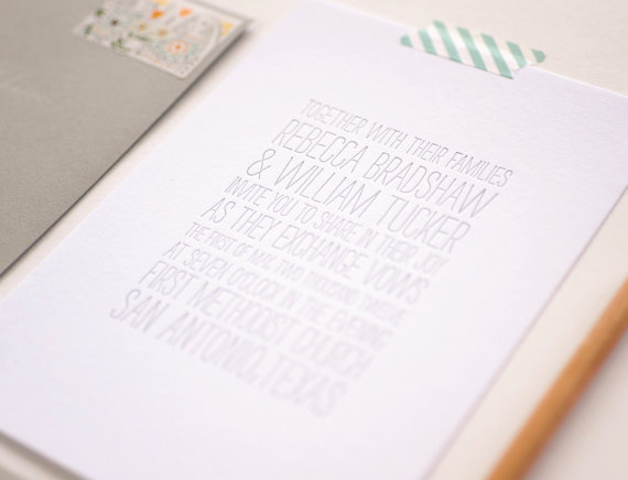 Wedding - Alki Letterpress Wedding Invitations - Modern Type Typography Letterpress Invitations - Flat Print or Letterpress Wedding Invitations