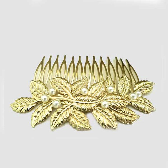 Mariage - Wedding Gold Hair Comb, Bridal Leaf Headpiece, Brooch Hair Comb, Bridal Vintage Style Leaf Hair Accessories, EMMA