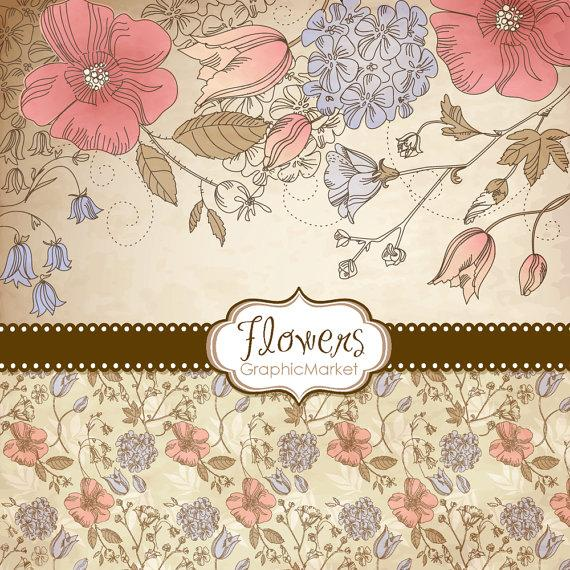 5 Flower Designs Digital Papers