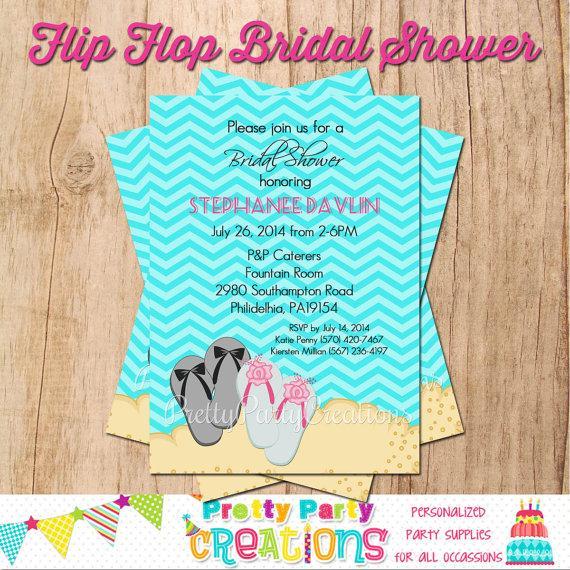 Hochzeit - FLIP FLOP Bridal SHOWER invitation - You Print