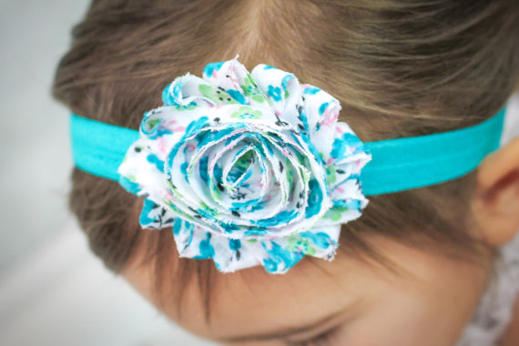 Свадьба - Baby Headband White Turquoise Floral Simple Summer Beach Wedding - Gift or Photo Prop - Newborn Infant Toddler Girl Adult Shabby Bow
