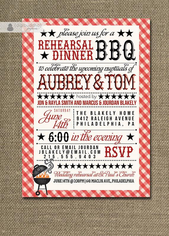 Wedding - BBQ Rehearsal Dinner Invitation Country Rustic Red Gingham Bridal Baby Shower FREE priority SHIPPING or DiY Printable - Aubrey