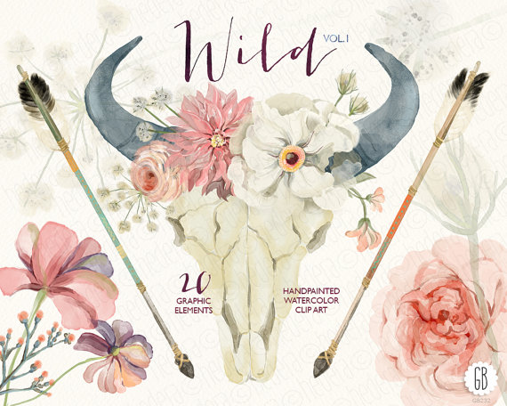 Wedding - Watercolor floral bull skull, peony, juliet roses, dahlia, arrows, tribal, bohemian, boho clip art, wedding flowers, queen anne's lace VOL.1