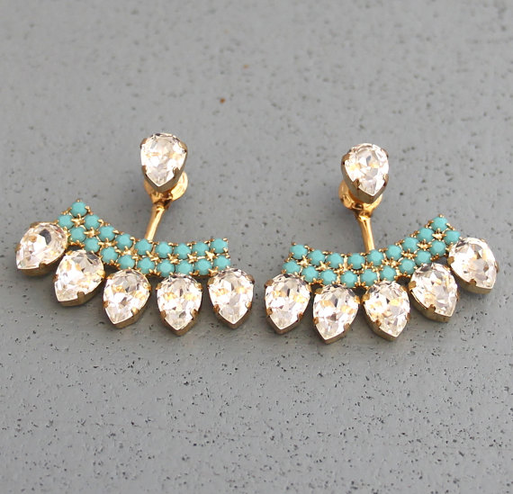 زفاف - Ear Jacket Earrings White Crystal Turquoise Swarovski Ear Jacket Earrings Crystal Earjacket Earrings For Brides, Bridal Something Blue