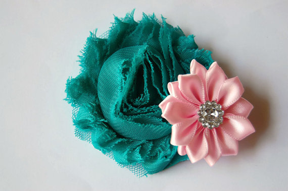 Свадьба - Dog collar flowers, embellishment for collar, dog, collar Flowers, Wedding Dog Flowers, Bows for Dogs, Dog Bows, teal green and pink