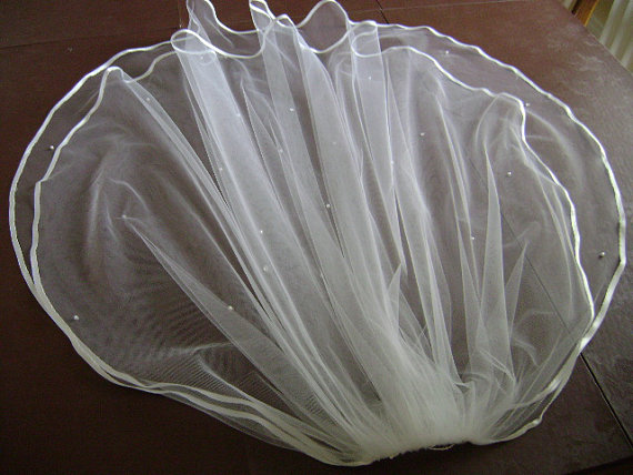 Свадьба - Two Tier Elbow Length Bridal Veil  27x30X72 wide Ribbon Trim/White-Ivory-Diamond White